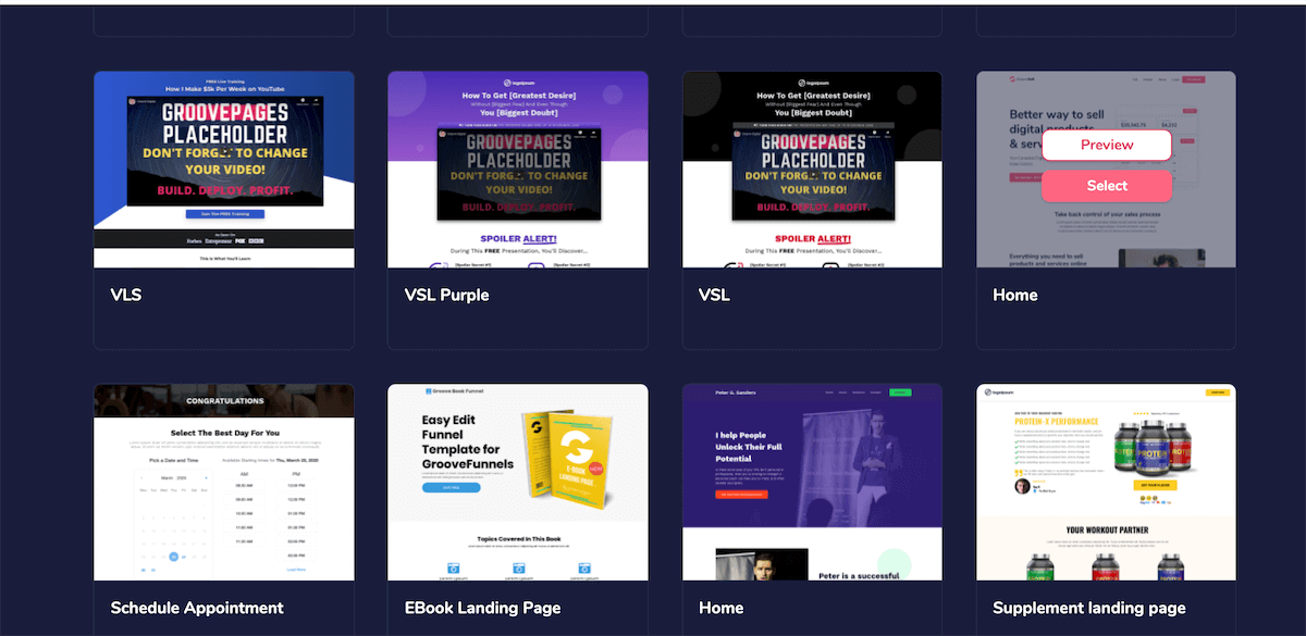 groove page templates